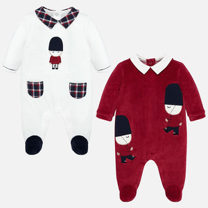 Mayoral Singapore Baby Boys Pajamas. Keep your little one cozy at night with these cute velour pajamas from Mayoral. Made from super soft cotton, this set will allow your little one drift off into their sweetest dreams.