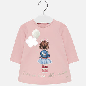 Mayoral Singapore Pink Sweatshirt Dress. This pink sweat dress from Mayoral is perfect for casual days. The loose-fitting cotton design includes a girl print on the front and a zip closure for a snug fit. Team with tights and pumps for a completed look.