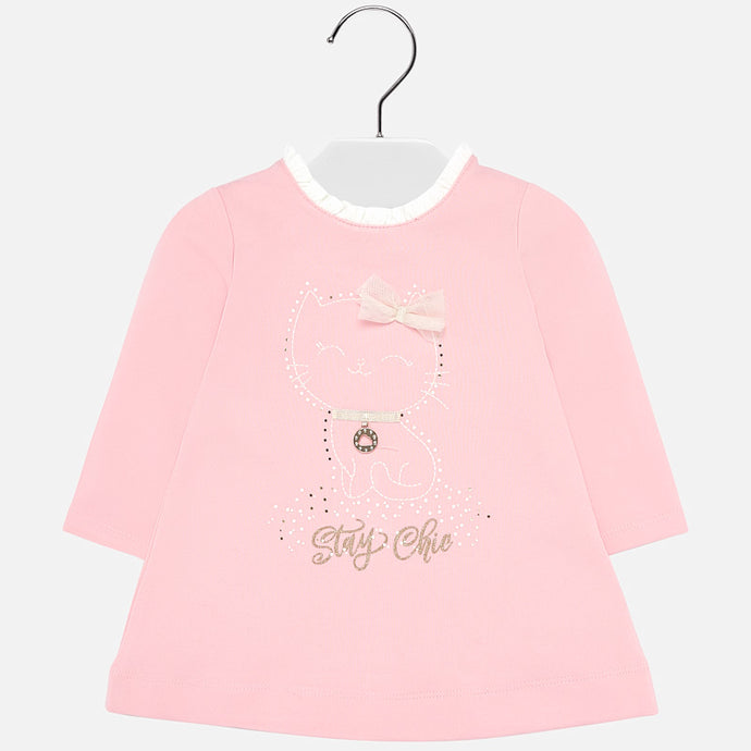 Mayoral Singapore Cat Dress. You'll both love this sweet pink cat dress from Spanish label Mayoral. It has a smiley cat embroidered on the front with shiny, flat gold studs and a diamanté logo charm.