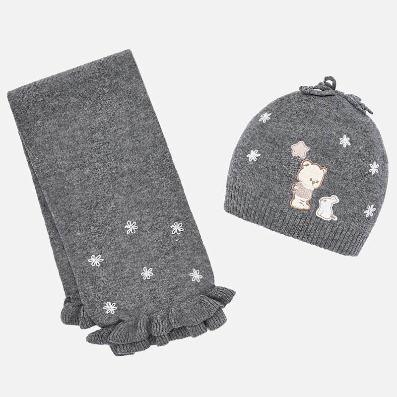 Mayoral Embroidered Hat and Scarf Set