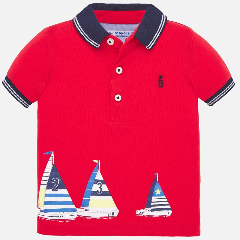 Mayoral Singapore Red Polo Shirt. Short sleeved polo shirt with contrasting details for baby boys. Made from soft elasticated cotton fabric, the design features sailing boats print, side openings on the bottom part of the item for wear.