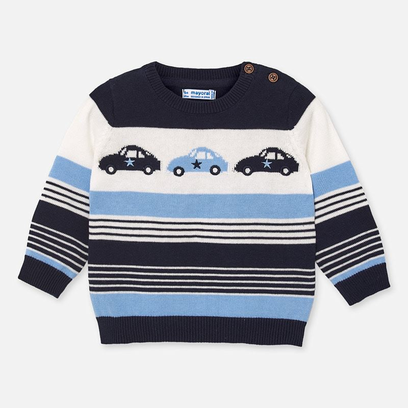 Mayoral Singapore Toddler Boy Car Sweater. Striped navy and blue sweater for toddler boys by Mayoral. Knitted in soft cotton, it has a car motif on the front and shoulder button fastenings.