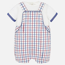 Load image into Gallery viewer, Mayoral Singapore Baby Boy Outfit Set. Mayoral's romper set is a lovely solution for their everyday adventures. The overalls feature a checkered print and the t-shirt has button fastening down the back.