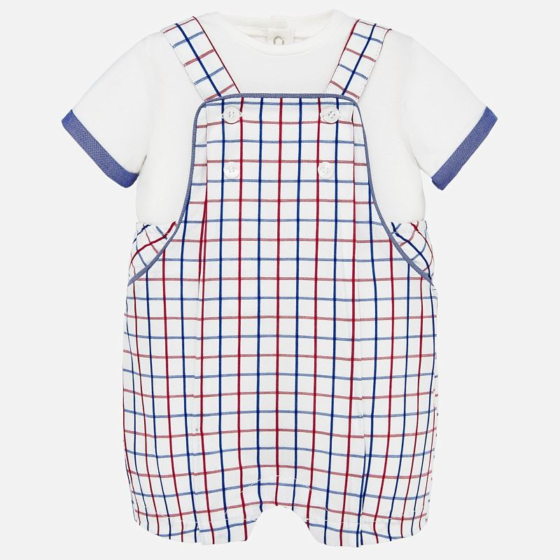 Mayoral Singapore Baby Boy Outfit Set. Mayoral's romper set is a lovely solution for their everyday adventures. The overalls feature a checkered print and the t-shirt has button fastening down the back.