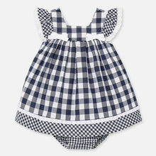 Load image into Gallery viewer, Mayoral Singapore Plaid Dress. This pretty black and white gingham print dress is perfect for sun-soaked days. Crafted in soft cotton, it is fully lined in lightweight cotton, with bows and ruffles on the bodice. There is an invisible zip on the back to fasten. Add a hair clip and a pair of sandals for an effortless yet chic look.