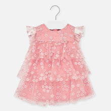 Load image into Gallery viewer, Mayoral Singapore Tulle Floral Dress. Pink dress for baby girls from Mayoral, with a printed white floral pattern. It is made in soft layers of tulle, with ruffle sleeves and a lightweight cotton lining.