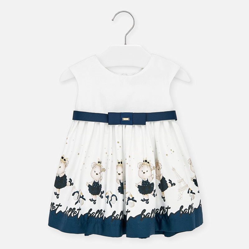 Mayoral Singapore Baby Girl Dress. Cute little dress for toddler girls from Mayoral. Finished with a delicate belt on the waist, the design features a playful print on the hem. Add a headband and sandals from the brand's collection to complete the look.