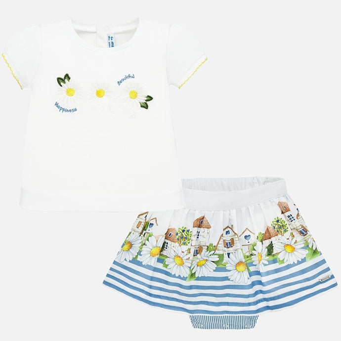Mayoral Singapore Skirt Set for baby girls. Blue and white skirt set from Mayoral for toddler girls. The T-shirt is made in soft cotton, with a daisy print and yellow scalloped details on the sleeves. The soft cotton striped skirt has an adjustable waistband.