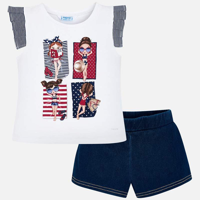 Mayoral Singapore Outfit set. Make day time dressing a breeze with this top and shorts set from Mayoral. The t-shirt has a fun print on the front and ruffles on the shoulders. The shorts have an elasticated waistband.