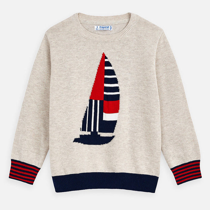 Mayoral Singapore Sweater for Boys. You'll both love Mayoral's playful boat themed jumper in beige, red and navy. The design features stripes on the sleeves and ribbed cuffs and hem. Pair with jeans or chinos, and smart trainers for a completed look.