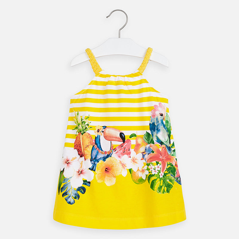 Mayoral Singapore Yellow Dress.  Add a pop of color to their new season wardrobe with this sweet dress from Mayoral. The adorable design includes a striped top and a colorful tropical print.