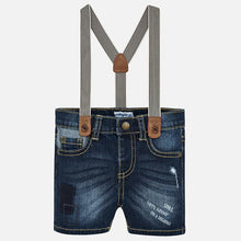Load image into Gallery viewer, Mayoral Denim Bermudas with Suspenders