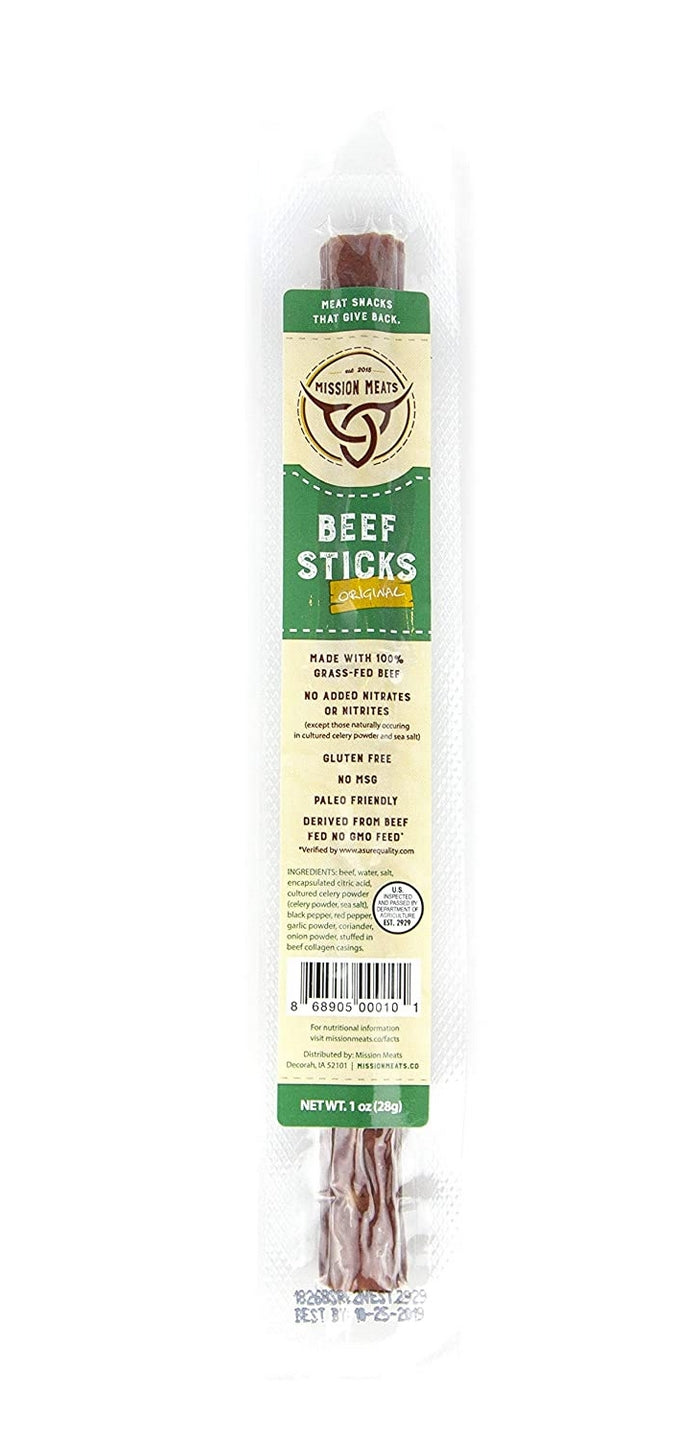 Mission Meats Grass-Fed Beef Sticks Snacks 12 Count