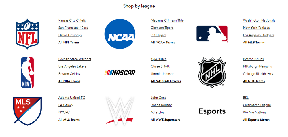 Shop by Sports League Team or Player