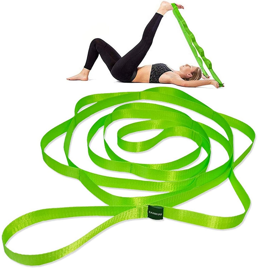 12 Loops Yoga Stretch Strap for Physical Therapy with Exercise Instruction