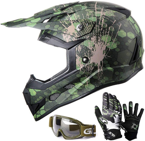 GLX GX623 DOT Youth Off-Road Motocross Safety Helmet Gear Set