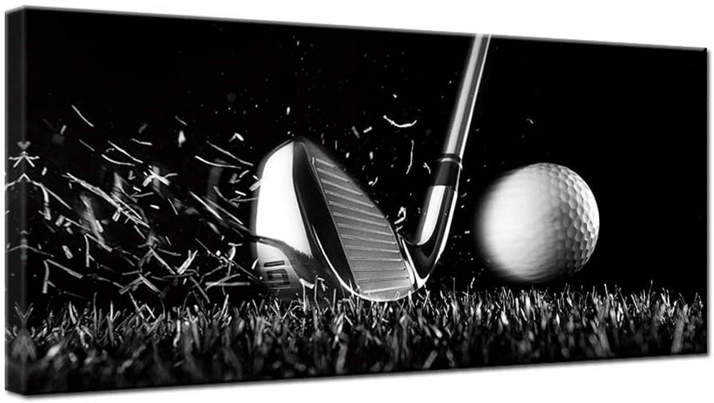 Golf Swing Black and White Canvas Art