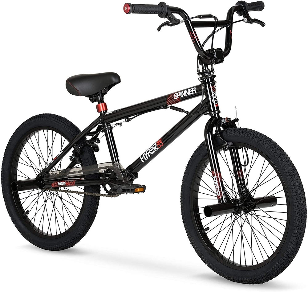 Hyper Spinner BMX Bike in Gloss Black with Red Accent