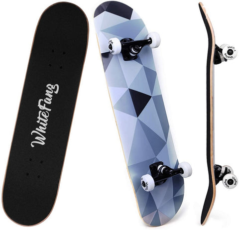 WhiteFang Double Kick Concave Skateboard