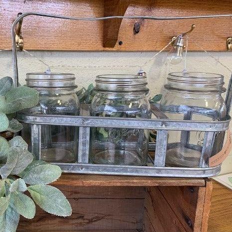 6 Glass Jars In Metal Holder