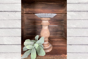 "9"" Wood & Metal Candle Holder"