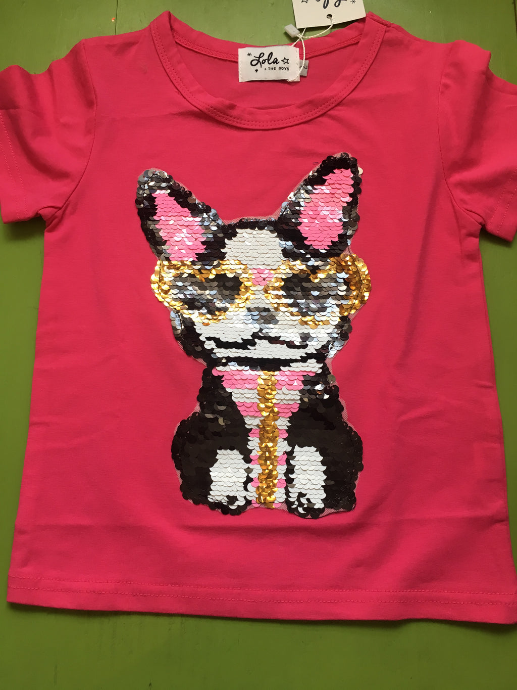 Girl dog hit pink shirt in sequins