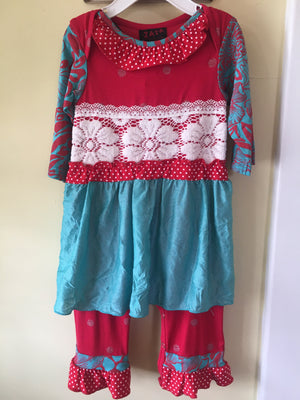 Girl aqua and red romper with lace detail