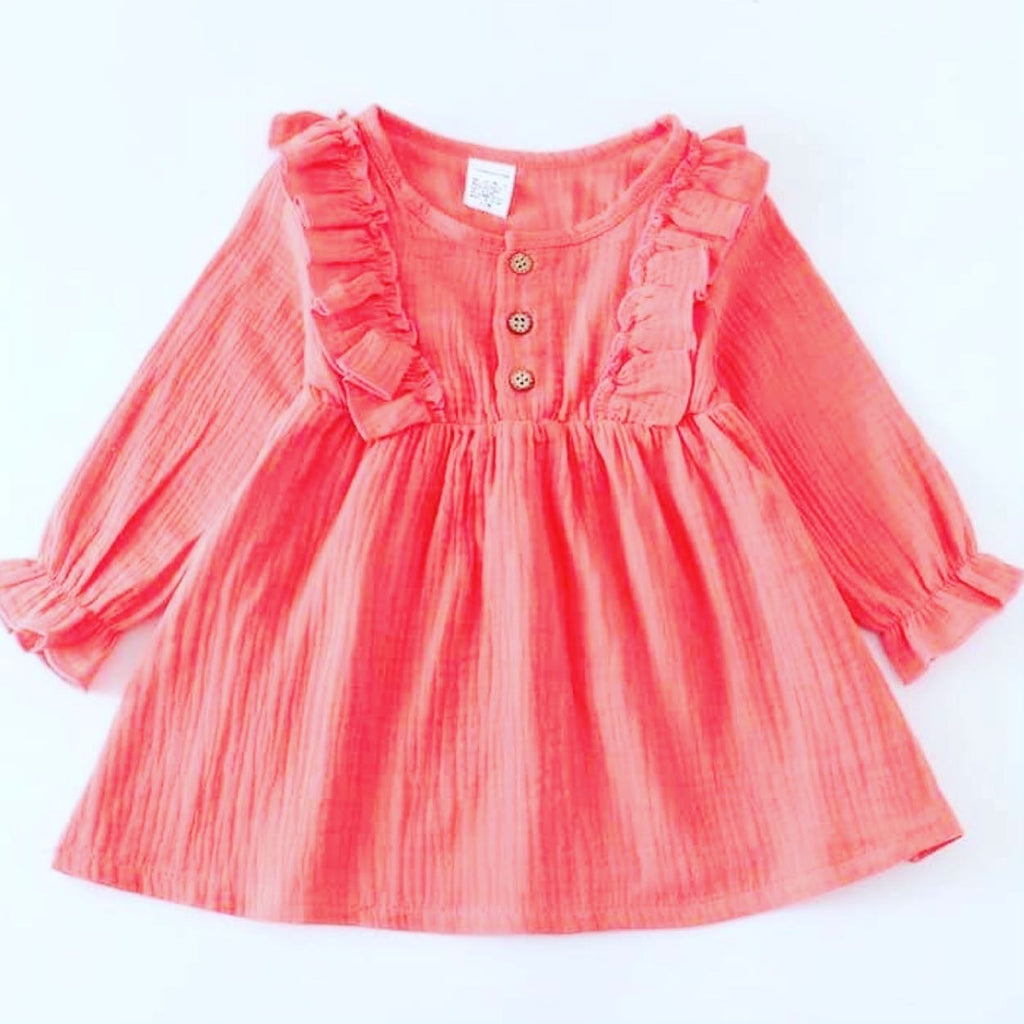 Toddler girl dark peach ruffle dress