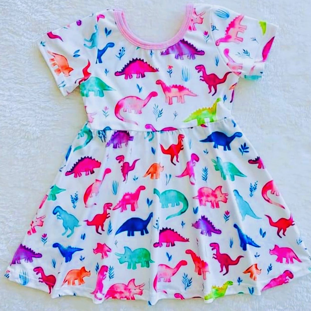 Girl Pink dinosaur dress