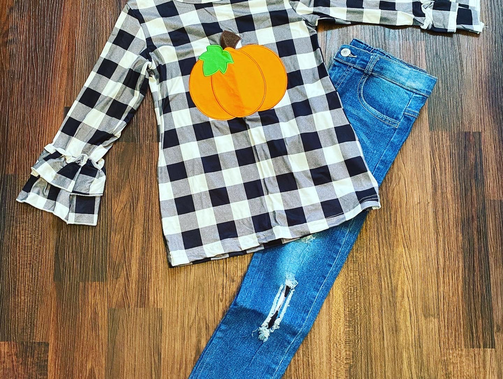 Girl pumpkin denim jean set buffalo plaid
