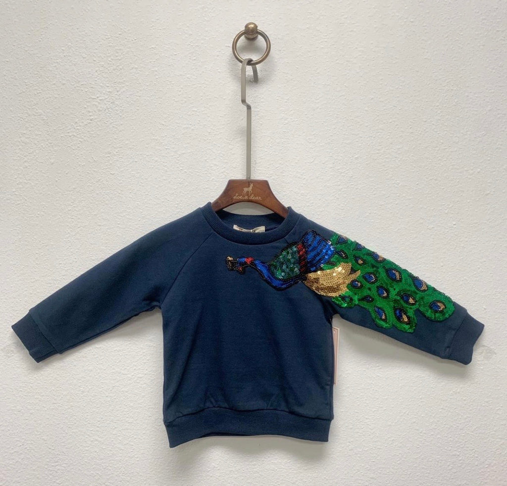 Girl blue sequin peacock sweatshirt