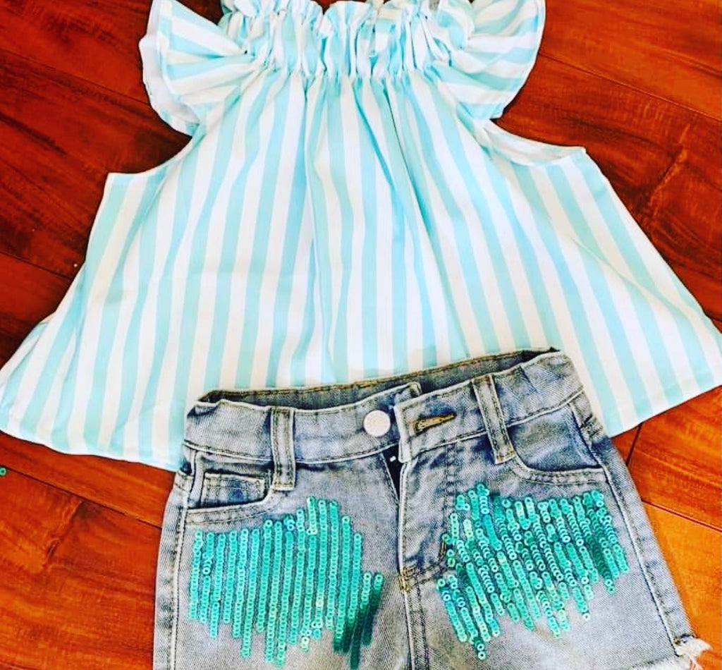 Girl sequin denim short set stripe top aqua
