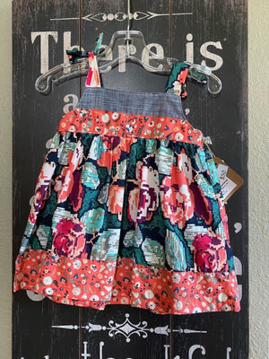 Handmade Baby dress teal and peach floral print