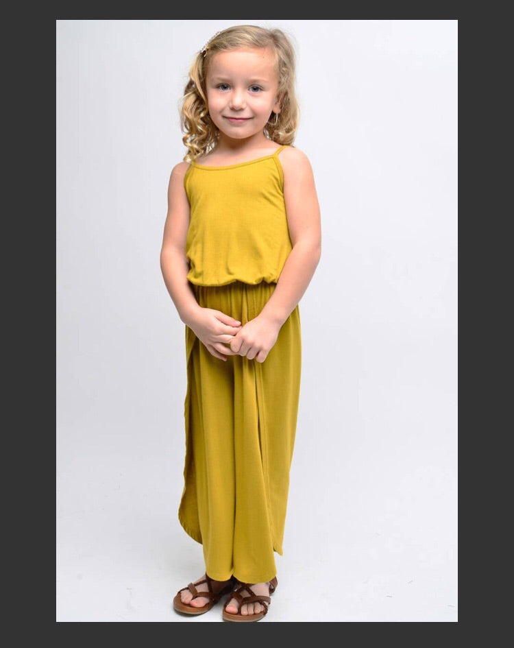 Girl tea olive yellow jumpsuit
