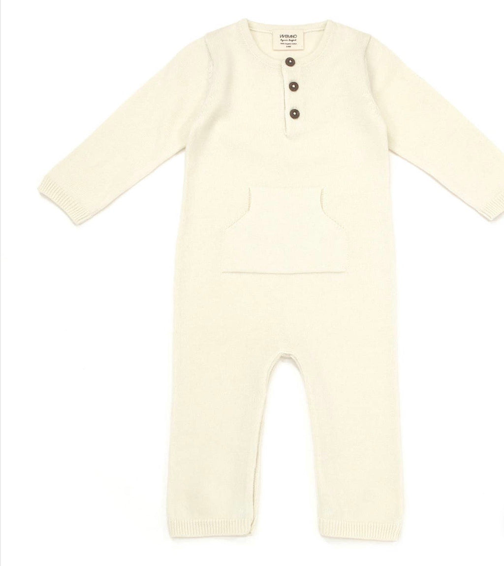 Boy girl organic knit coverall romper