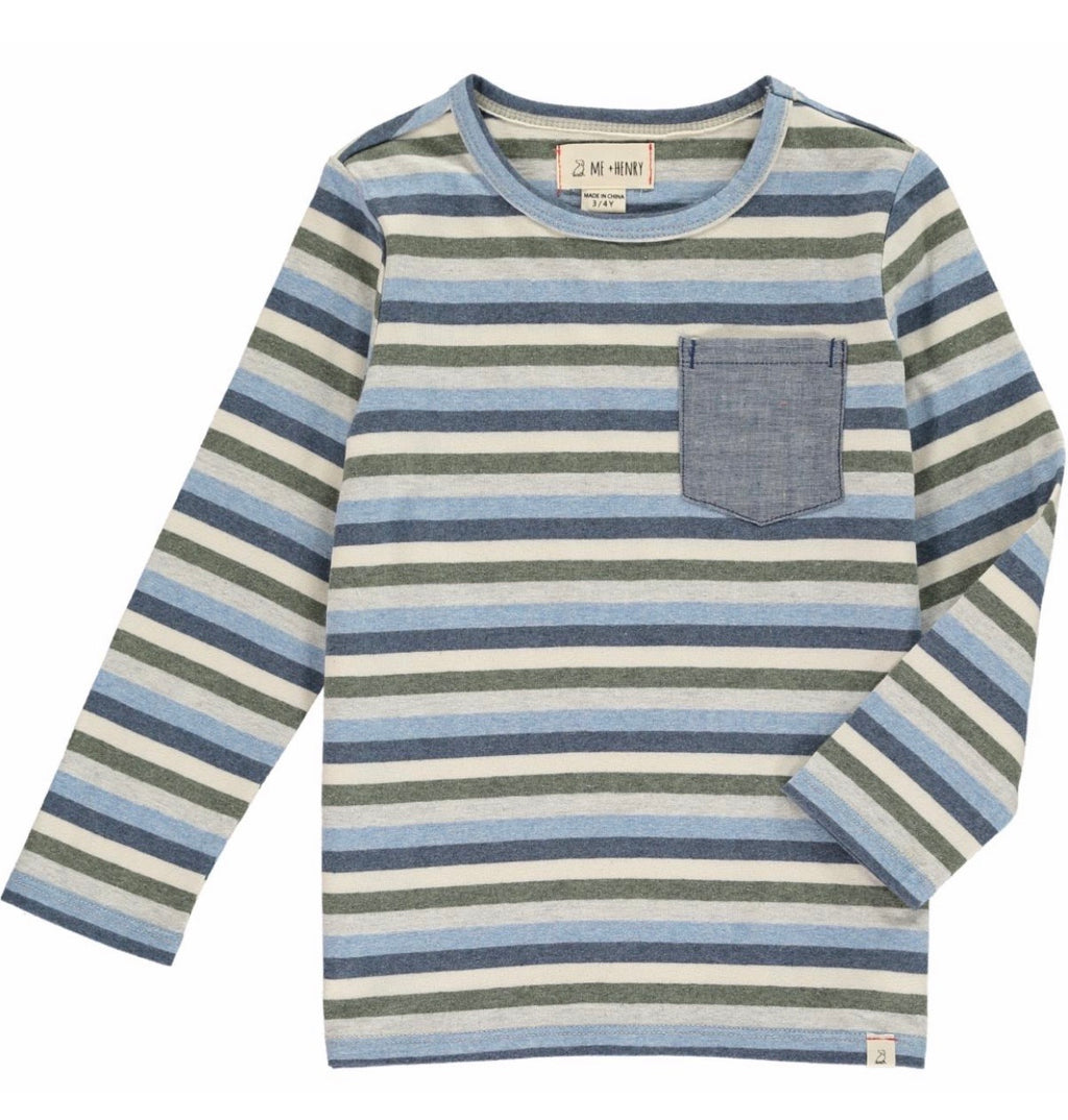 Boy blue and green stripe long sleeve shirt