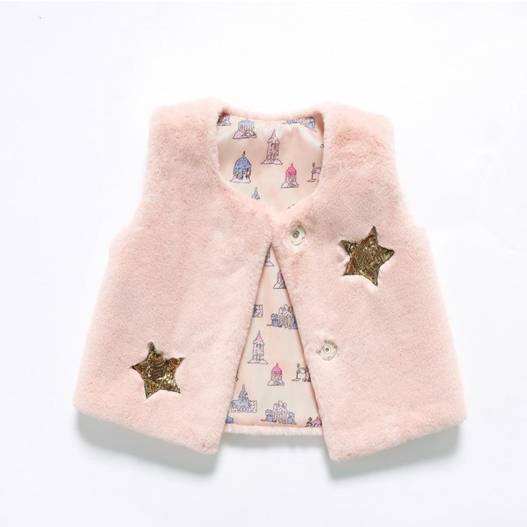 Girl pink fur star vest