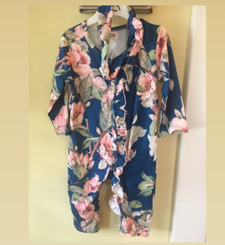 Baby Girl floral romper in navy