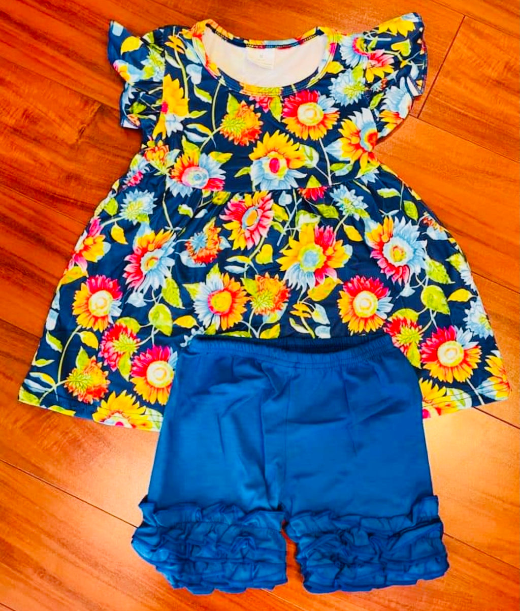 Baby girl toddler tween sunflower short set