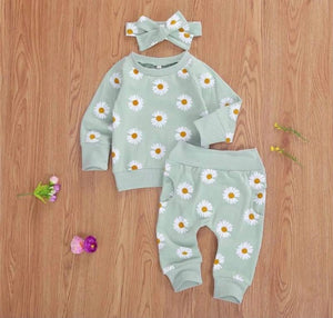 Baby girl green daisy sweatshirt set