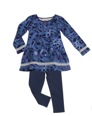 Girl denim blue patterned set