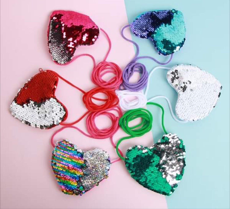 Girl sequin heart purse