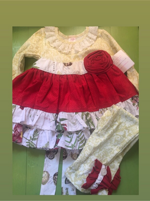 Baby girl yellow red ruffle set 18m