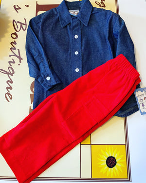 Boy denim shirt and corduroy pant set