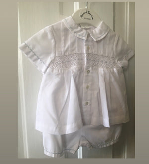 Baby Boy White smocked two piece set 3m