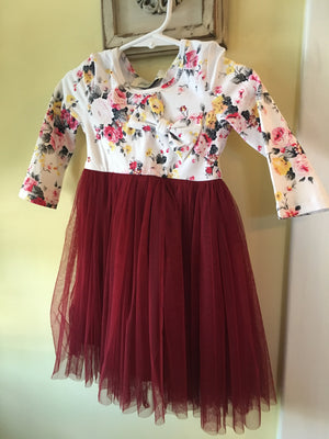 Girl Tulle dress in floral top and burgundy skirt