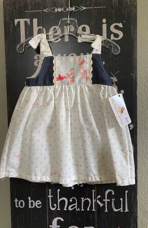 Handmade white cross print baby dress