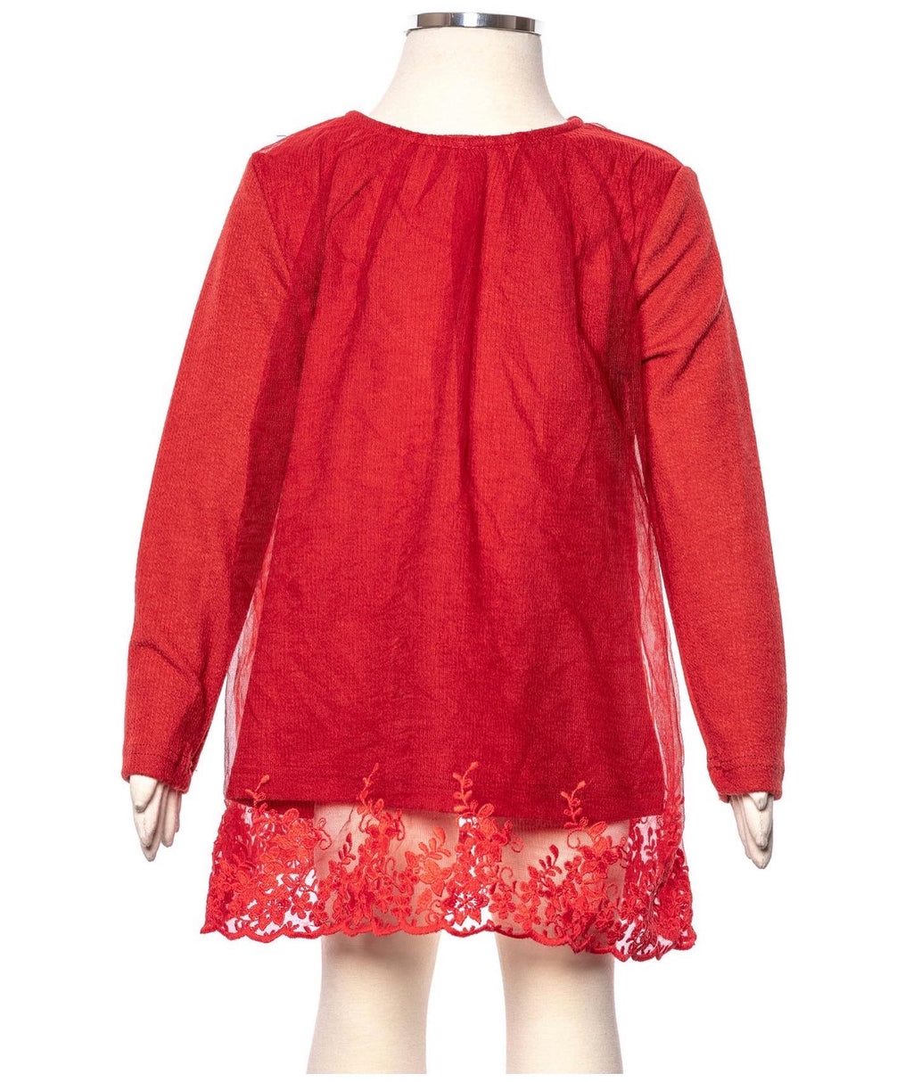 Girl red lace tunic