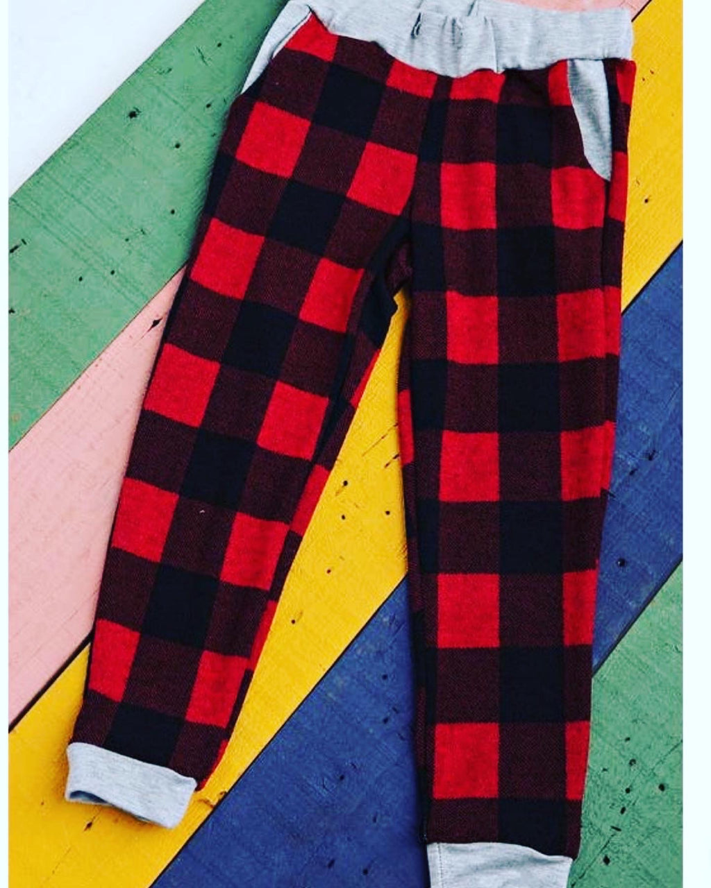 Girl joggers buffalo plaid