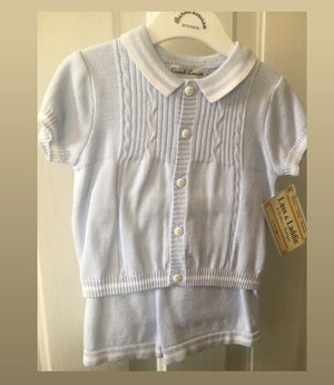Baby Boy blue sweater short set 6m
